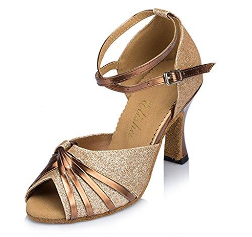 Crc Delle Donne Alla Moda Peep Toe Pu Nodo Sala Da Ballo Morden Salsa Latino Tango Partito Da Sposa Professionale Danza Sandali In Bronzo