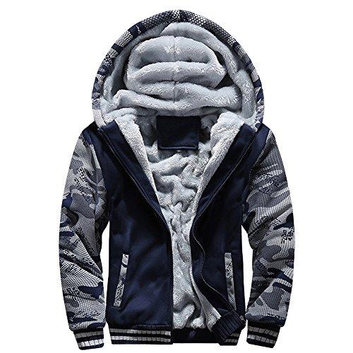 Toimothcn Mens Faux Fur Lined Coat Winter Warm Fleece Hood Zipper Sweatshirt Jacket Outwear (Blue1,M) ()