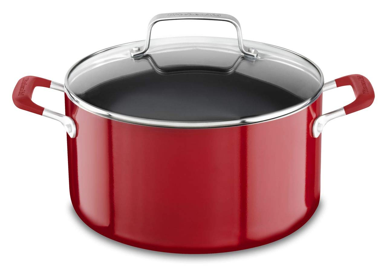 KitchenAid KC2A60LCER Aluminum Nonstick 6.0 quart Stockpot with Lid - Empire Red, Medium