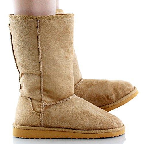 Premium Calf US Camel NAT Comfort Suede M Mid 8 Faux Women's Flat Fur Boot Soong Soda 0w61qff
