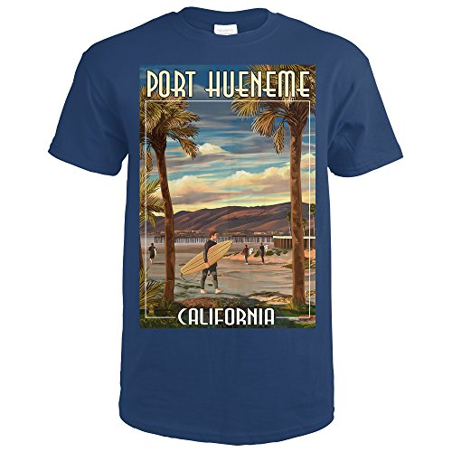 Port Hueneme, California - Surfer and Pier (Navy Blue T-Shirt Large) (Port Framed)