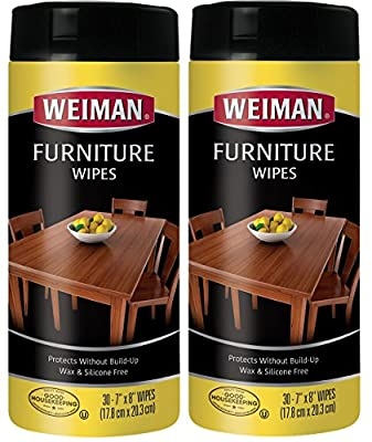 Weiman Wood Cleaner and Polishing Wipes - For Furniture To Beautify & Protect, No Build-Up, Contains UVX-15, Pleasant Scent, Surface Safe - 30 Count