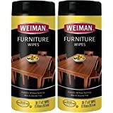 Weiman Wood Cleaner and Polish Wipes - 2 Pack - Non Toxic for Furniture to Beautify & Protect, No Build-Up, Contains UVX-15, Pleasant Scent, Surface Safe - 30 Count