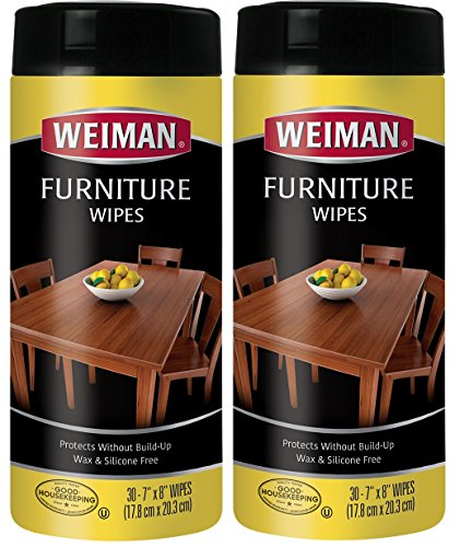 Wipes Cleaner (Weiman Wood Cleaner and Polish Wipes - 2 Pack - Non Toxic For Furniture To Beautify & Protect, No Build-Up, Contains UVX-15, Pleasant Scent, Surface Safe - 30 Count)