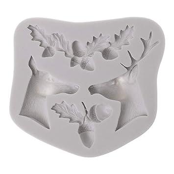 haia7k4k Molde de silicona 3D, molde de ciervo de Navidad, molde de azúcar,