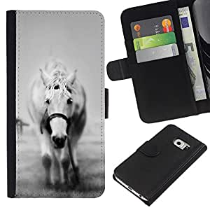 Samsung Galaxy S6 EDGE (NOT S6) - Dibujo PU billetera de cuero Funda Case Caso de la piel de la bolsa protectora Para (The White Horse B&W)