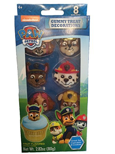 Gummy Treat Decorations (8 Pieces), Paw Patrol-Fruit Flavored/Great for Cupcakes & Cookies