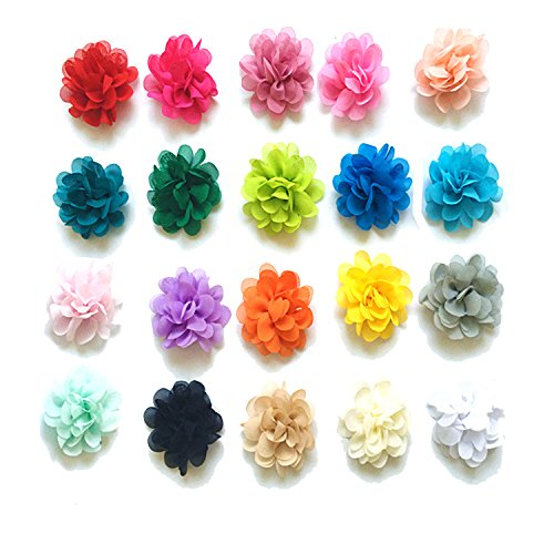 20 PCS Baby Girl Chiffon Flowers Lined Hair Bows Clips for Teens Girls Babies Toddlers