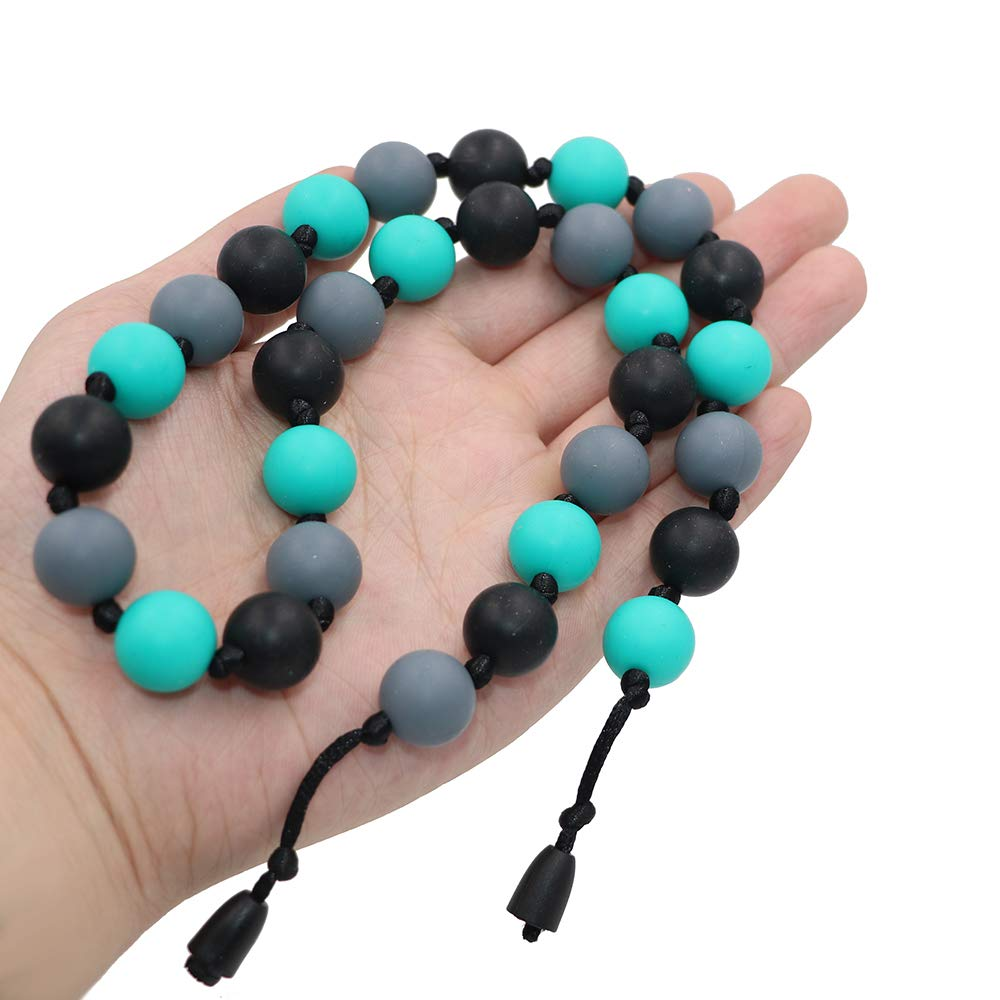 Aqua Sensory Chew Necklace for Kids and Adult ADHD Biting Autism Chewable Necklace for Teething SPD Boys and Girls Chewing Jewelry by LeeYean