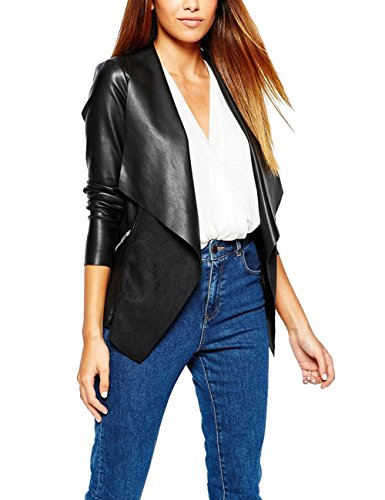 Eliacher Women's Slim Tailoring Faux Leather PU Short Jacket Coat (M, Black)