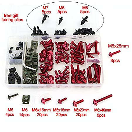 Alloy Motorcycle Complete Fairing Bolt Kit Bodywork Screws Nuts for motorbike windscreen (Red) MADRACING