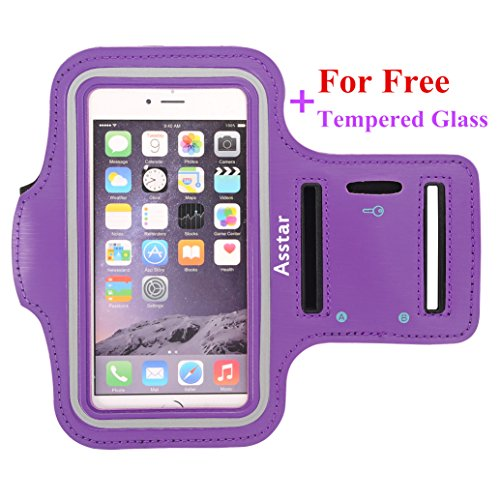 Armband, Asstar [Stand Feature] Premium Running Water Resistant Sports Armband and Fits iPhone 6, 6S,SE, 5, 5S, 5C, Samsung S4, S3, S2, HTC ect with FREE Tempered Glass (Purple)