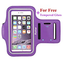 iPhone 6S Plus Armband, Asstar Water Resistant Running Walking Sports Armband with Key Holder Slot for 6 Plus,S6/S5, Note 4 Nexus 6P Moto X OnePlus 2 Bundle with Screen Protector (Purple)