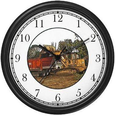 Payloader and Dump Truck JP6 Wall Clock by WatchBuddy Timepieces White Frame
