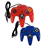 Bowink Classic Retro N64 Bit USB Wired Controller for PC and Mac (Red and Blue)