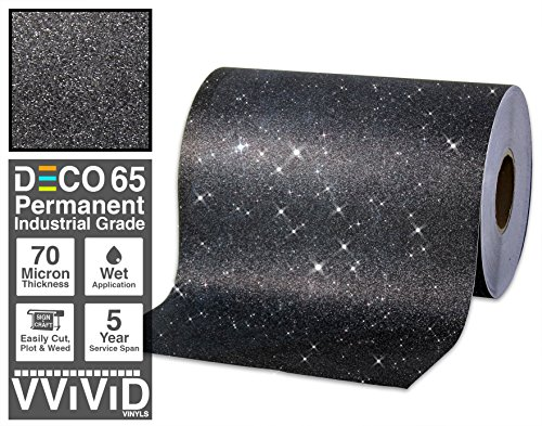 VViViD Glitter Black DECO65 Permanent Adhesive Craft Vinyl Roll for Cricut, Silhouette & Cameo (6ft x 1ft)