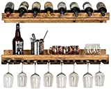 del Hutson Designs - Rustic Luxe Tiered Wine Rack, USA Handmade, Pine Wood (Dark Walnut)