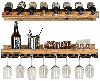 (Del Hutson Designs - Rustic Luxe Tiered Wine Rack, USA Handmade, Pine Wood (Dark Walnut))