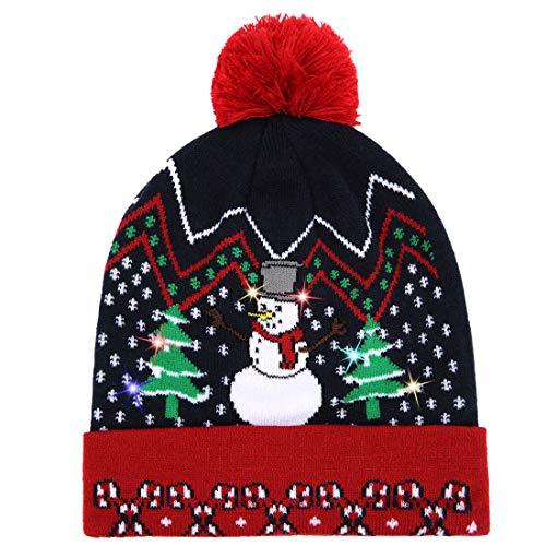 akiido LED Ugly Christmas Hat Novelty Light-up Colorful Stylish Beanie Cap Knitted Sweater Xmas Party