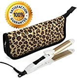 2-in-1 Mini Hair Straightener Travel Flat Iron/Curling Iron Dual Voltage 374 Degree Temperature Nano Titanium - Insulated Carry Bag Included
