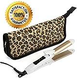 2-in-1 Mini Hair Straightener Travel Flat Iron/Curling Iron Dual Voltage 374 Degree Temperature Nano Titanium - Insulated Carry Bag Included