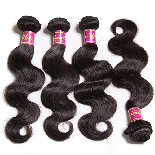Unice Hair 18 20 22inch Brazilian Virgin Human Hair Weave 3 Bundles Deal Brazilian Body Wave Hair Weft Extensions Natural Color by UNICE (Image #3)