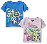 4 film favorites ninja turtles - Nickelodeon Little Girls' 2 Piece Teenage Mutant Ninja Turtle T-Shirt, Assorted Colors, 4