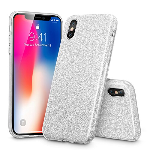 ESR Makeup Glitter Case for iPhone X/iPhone 10, Glitter Sparkle Bling Cover [Three Layer] for iPhone 5.8 inch (2017 Release only)(Silver)