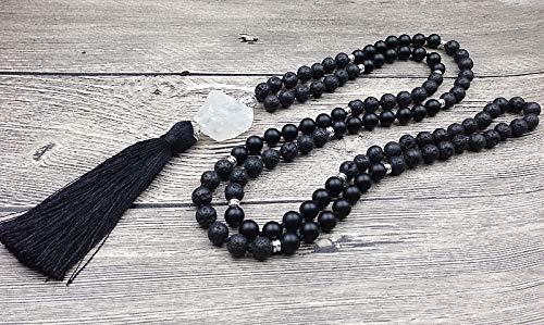 Chakra Mala Lava Stone 108 Prayer Beads 8mm Beads Clear Quartz Nugget Tassel Knot Beads Handmade Necklaces ()