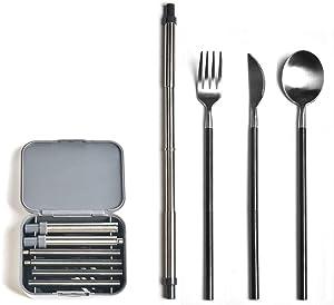 Yassk Pocket Sized Silverware Flatware Cutlery Set, Portable Reusable Stainless Steel Utensils Knife Fork Spoon Straw Cloth Napkin,Dishwasher Safe (Silver Black)