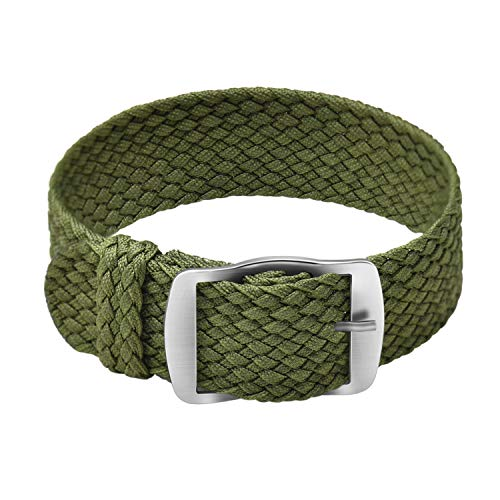 - Ullchro Nylon Watch Strap Replacement Perlon Braided Woven Watch Band NATO Men Women - 14mm, 16mm, 18mm, 20mm, 22mm Watch Bracelet with Stainless Steel Silver Buckle (22mm, Army Green)