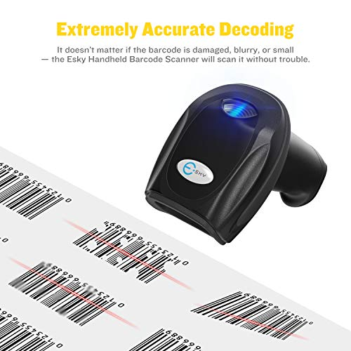 Esky Wireless Barcode Scanner 328 Ft Transmission Distance USB Cordless 1D Laser Automatic Barcode Reader Handheld Bar Code Scanner with Quick Charge Base Stand for Shop, Store, Supermarket, Warehouse by Esky (Image #6)