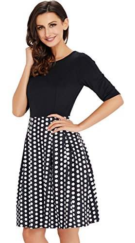 UniSweet Vintage Work Dress Womens Patchwork Puffy Swing Casual Office Dresses