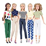 E-TING 5 Set Doll Clothes Casual Wear Outfit 5 Tops 5 Trousers Pants for 11.5 inches Girl Doll(Style B)