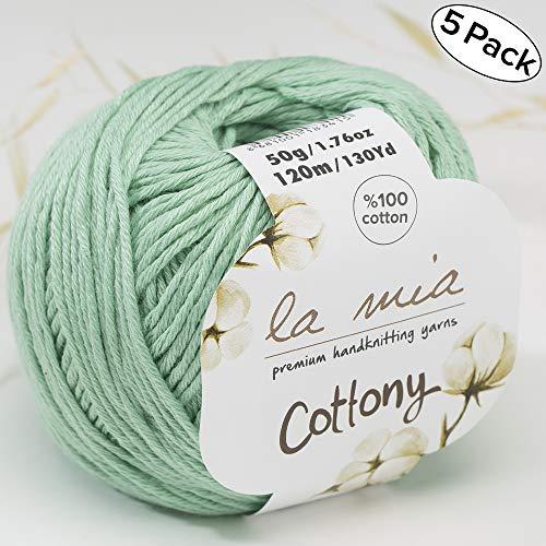 5 Ball%100 Cotton Total 8.8 Oz. La Mia Cottony Each 1.76 Oz (50g) / 130 Yrds (120m) Super Soft, Dk Light Baby Yarn, Green - P12
