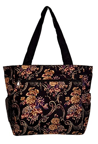 Large Multi - Pocket Fashion Zipper Top Organizing Beach Bag Tote - Custom Embroidery Available (Autumn Floral Print) by 101 BEACH
