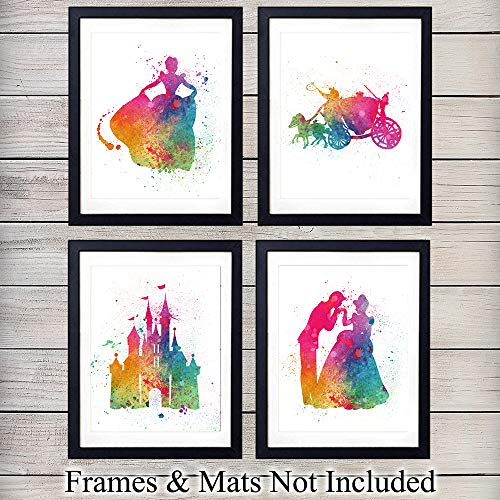 - Princess Cinderella Watercolor Wall Art Prints - Perfect Gift For Baby Girl Room, Nursery, Disney World Fans - Disneyworld - Great For Home Decor - Ready to Frame (8X10) Photo