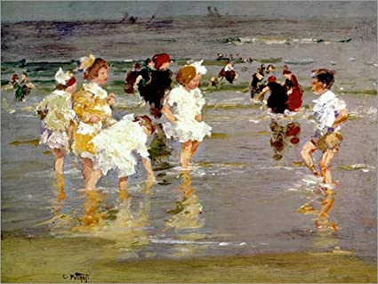 Forex 80 x 60 cm: Children on The Beach di Edward Henry Potthast/Bridgeman Images POSTERLOUNGE