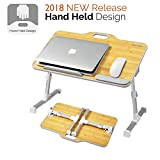 Kavalan [2018 New Version] Portable Laptop Table with Handle, Height & Angle Adjustable Sit and Stand Desk, Bed & Breakfast Table Tray, Foldable Notebook Stand Holder for Sofa Couch - Bamboo Grain