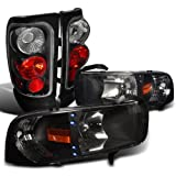 Dodge Ram 1500/2500/3500 Black Led Drl Head Lights, Altezza Tail Lamps