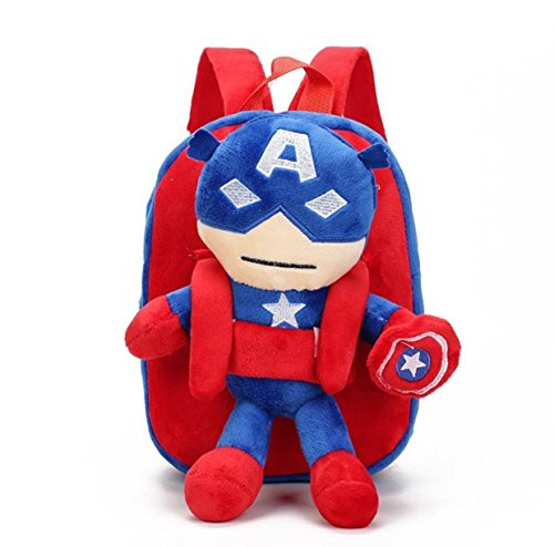 Toddler Preschool Bag, Cute Premium Quality 3D Plush Superhero Design Backpack, Made with Super Soft Materials, Backpacks for Kindergarten Kids Boys Age 1 to 5 Years (Captain - Ultralight America