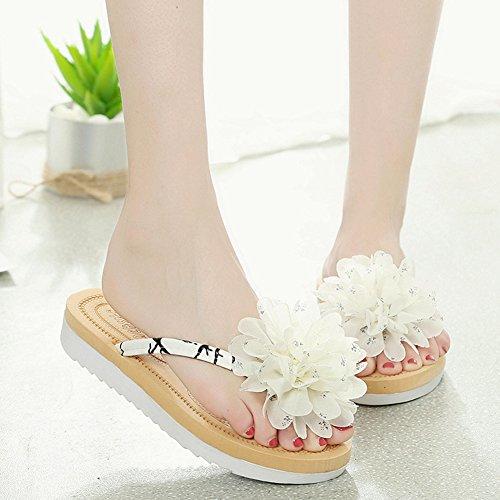 Btrada Dames Bloemen Flip-flops-zomer Antislip Flats- Mode Strand Sandaal Wit