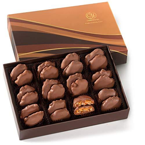 CY Chocolates 24 Piece Milk Chocolate Caramel Pecan Patties in Gift Box