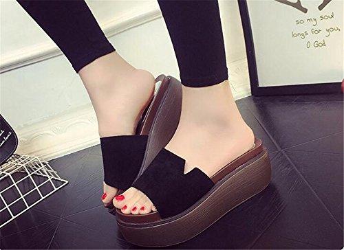 Flower Bow High Wedge Black Flop Plumeria Thong Sandals Flip Shape Womens Thick Sandals Heel Flowver Platform LYLIFE Sandals Sweet qwv1FHH