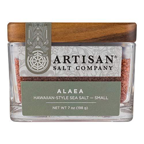 SaltWorks Alaea Red Hawaiian Sea Salt, Small Grain, Artisan Glass Jar, 7 Ounce
