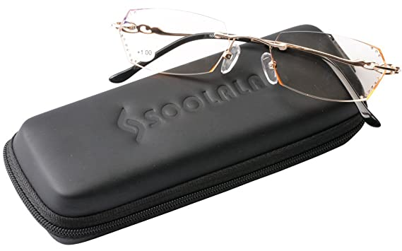3cb73993dfdf SOOLALA Womens Gradient Tea Lens Diamond Cut Edge Frameless Reading Glasses  with Rhinestones