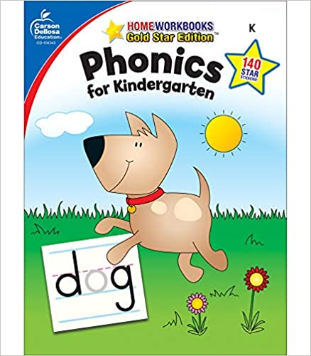 Carson Dellosa Phonics for Kindergarten Workbook—Writing Practice, Tracing Letters, Sight Words With Incentive Chart and Motivational Stickers (64 pgs)