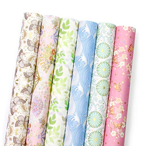 UNIQOOO Japanese Wrapping Paper 24 Sheets Precut 6 Assorted Designs,Packed 3 Rolls,Kimono Washi Thick Paper,Size 27½ x 17