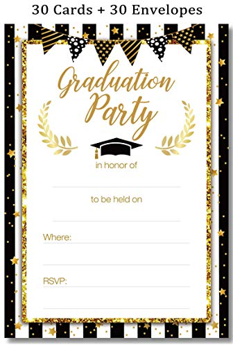 Graduation Party Invitations Cards with Envelopes 2019 - Grad Congrats Announcements Supplies 30Ct