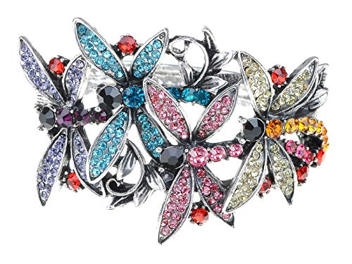Dragonfly Cuff Bracelet - Alilang Womens Silvery Tone Shine Colorful Crystal Rhinestone Flying Dragonfly Firefly Insect Cuff Bangle Bracelet
